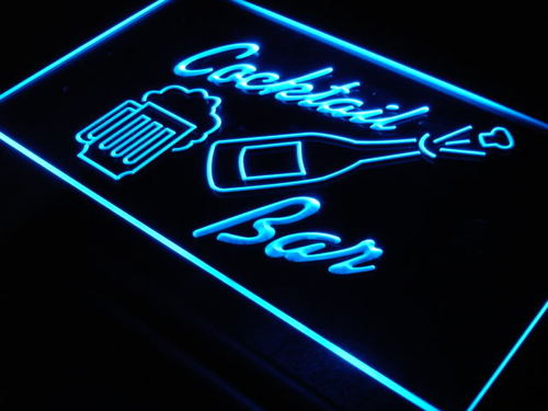 Cocktails Bar Cup Bottle Beer Neon Light Sign