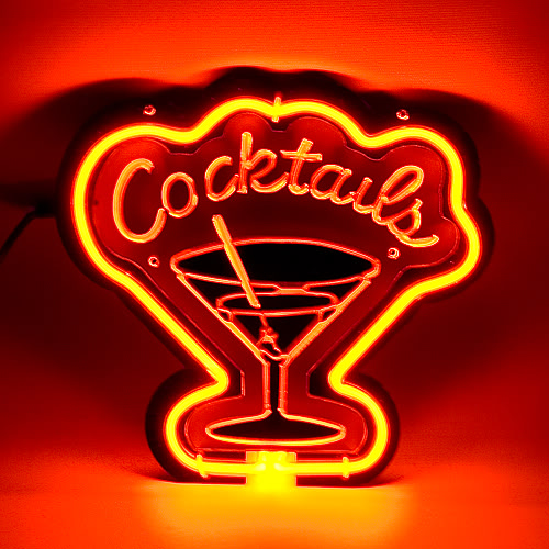 Cocktails Glass Red Neon Bar Mancave Sign