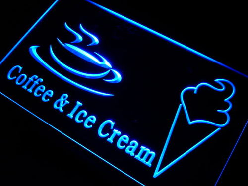 Coffee Ice Cream Cafe LED Light Sign