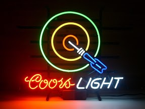 Coors Light Dartboard Classic Neon Light Sign 17 x 14