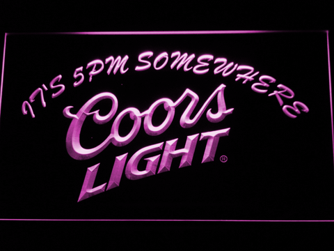 Coors Light It's 5pm Somewhere LED Neon Sign