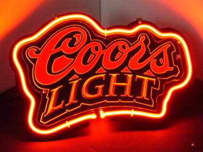 Coors Light Logo Red Neon Bar Mancave Sign