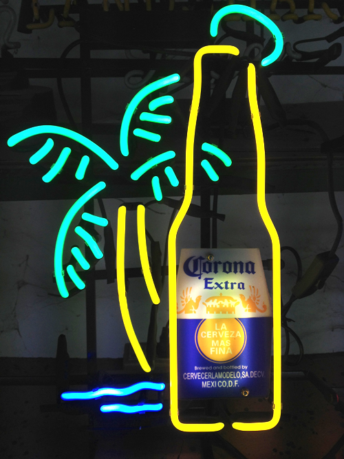 Corona Bottle and Palm Classic Neon Light Sign 18x11