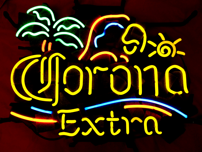 Corona Extra Palm and Parrot Light Sign 20x18