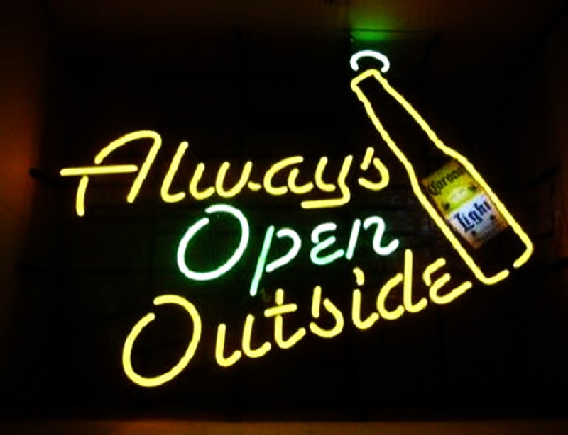 Corona Light Always Open Outside Neon Sign
