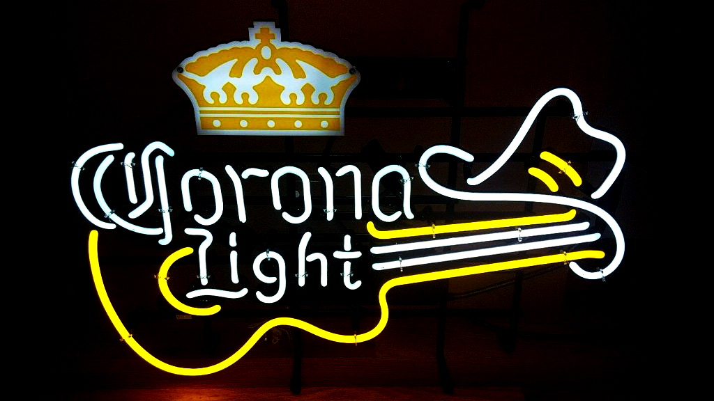 Corona Light Guitar Crown Beer Neon Sign
