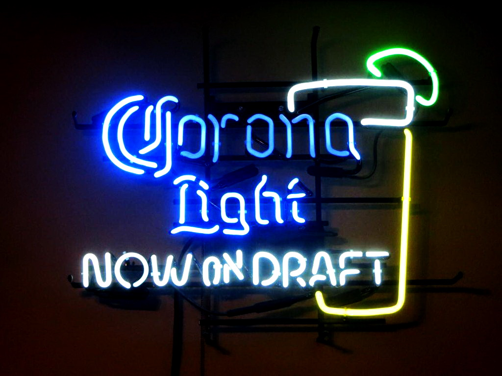 Corona Light Now On Draft Lime Glass Neon Sign