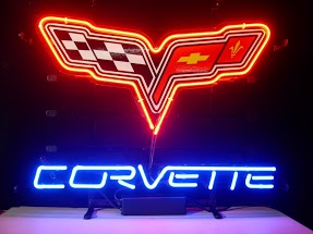 Corvette Racing Flags Logo Classic Neon Light Sign 17 x 14