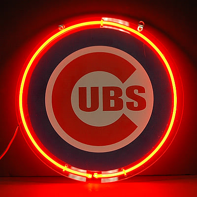 Cubs Baseball Logo Red Round Neon Bar Mancave Sign