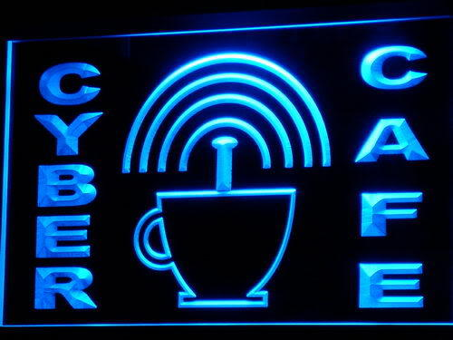 Cyber Cafe Internet access Wi-Fi Neon Light Sign