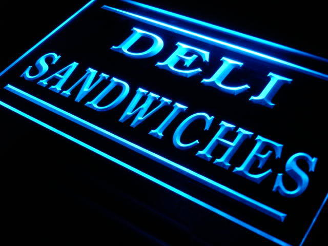 Deli Sandwiches Cafe Shop Bar Pub Neon Sign