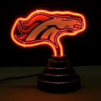 Denver Broncos NFL Logo Red Neon Bar Mancave Sign