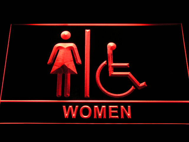 Disabled Wheelchair Handicap Access Women Toilet Neon Sign