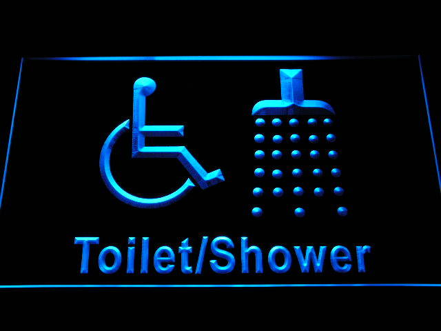 Disabled Shower Change Room Handicap Wheelchair Accessible Neon