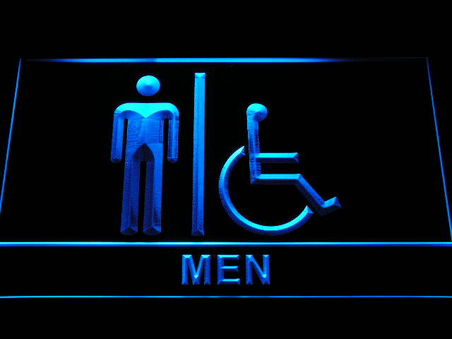 Disabled Wheelchair Handicap Accessible Men Restroom Toilet Neon