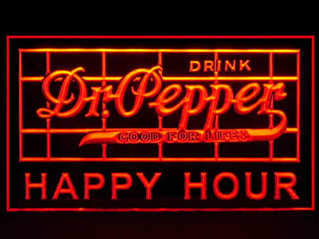 Dr Pepper HAPPY HOUR Neon Light Sign
