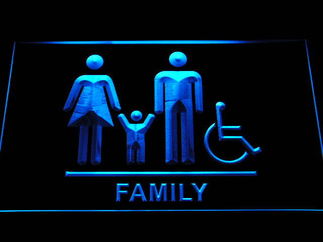 Family Toilet Unisex Men Women Disabled Restroom Neon Light Sign