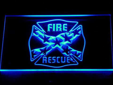 Fire Rescue Confederate Flag LED Neon Sign