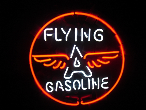 Flying A Gasoline Logo Classic Neon Light Sign 16x16
