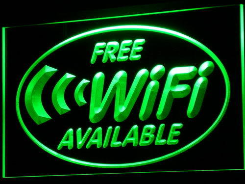 Free Wi-Fi Internet Access Cafe Neon Light Sign