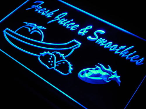 Fresh Juice Smoothies Drink Cafe Neon Light Sign