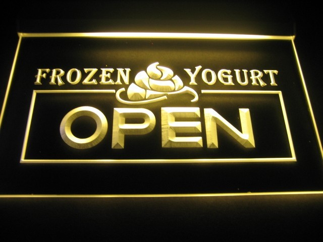 Frozen Yogurt Open Logo LED Sign