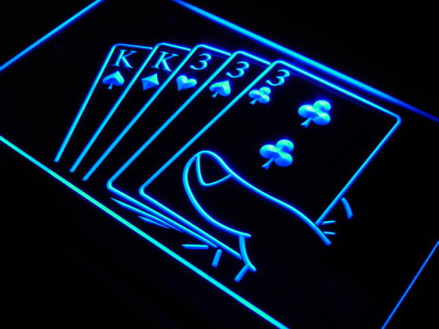 Full House Poker Gamble Game Room NEW Light Sign