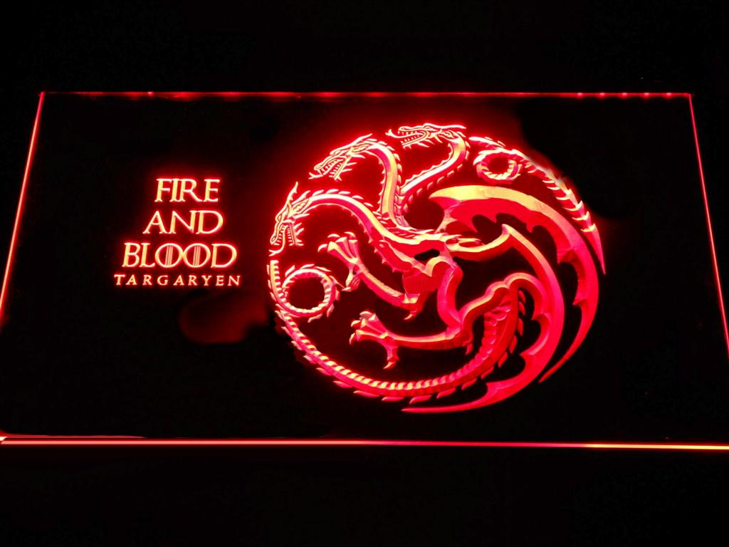 Game of Thrones Targaryen Fire and Blood 2 LED Neon Sign