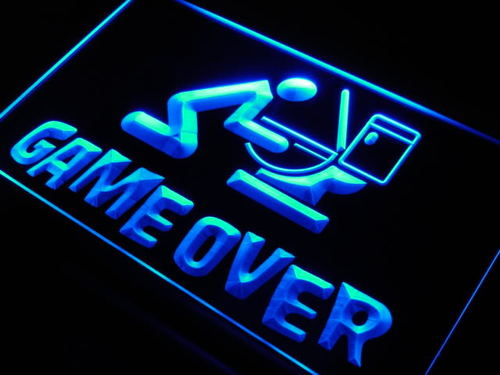Game Over Room Display Spoof Neon Light Sign