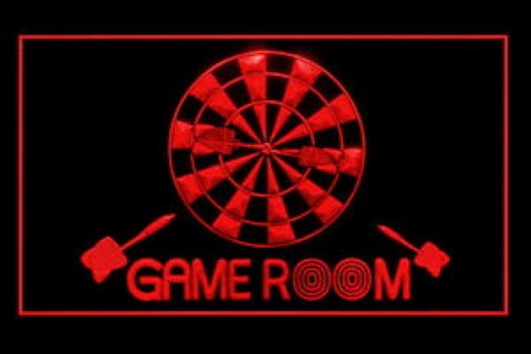Game Room Billiards Dartboard LED Neon Sign