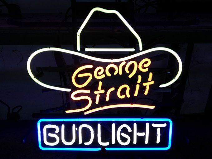 George Strait Budlight Hat Neon Light Sign 16 x 15