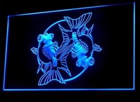 Gold Fish Tattoo Design Studio Japanese Artwork LED Neon Sign