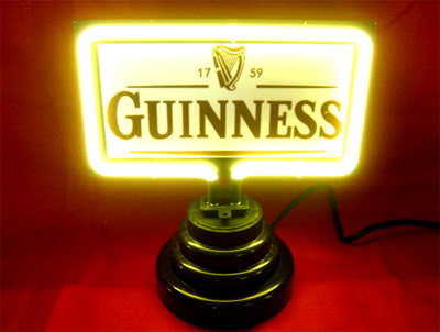 Guinness Yellow Logo Rectangle Neon Bar Mancave Sign