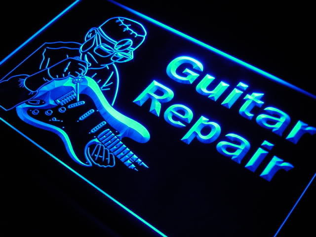 Guitar Repairs Service Instrument Shop Neon Sign