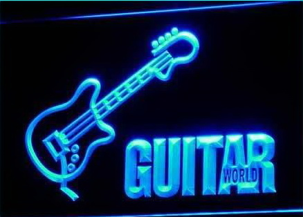 Guitar World Displays Gifts Pub Neon Light Signs