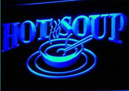 HOT SOUP Restaurant Cafe Display Neon Light Sign