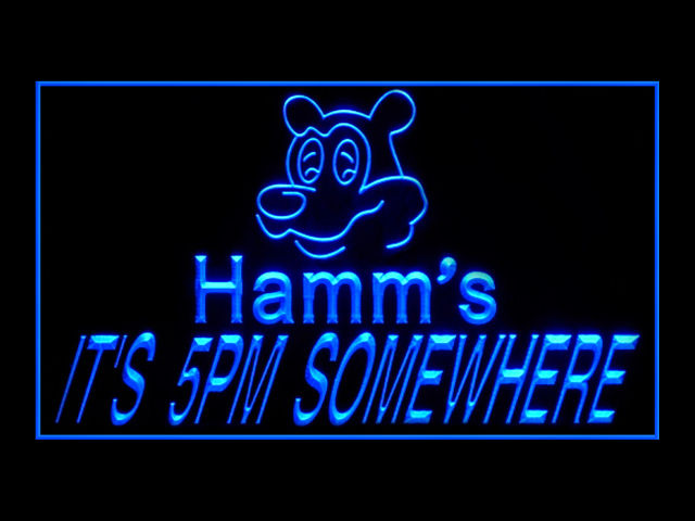 Hamms Beer ITS 5PM SOMEWHERE Pub Store Neon Sign