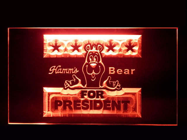 Hamms Beer BEAR FOR PRESIDENT Pub Store Neon Sign