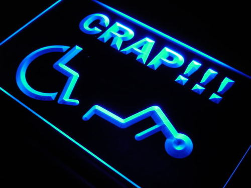 Handicapped Crap Beware New Neon Light Sign