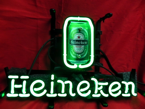 Heineken Beer Can Green Bar Classic Neon Light Sign 17x11