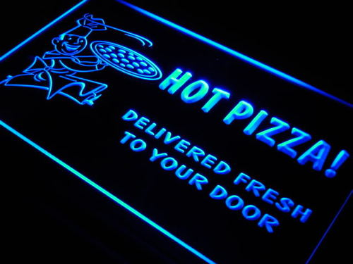 Hot Pizza Delivery Services Cafe Neon Light Sign