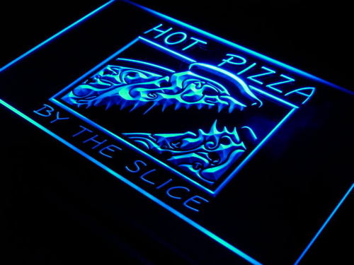 Hot Pizza by the Slice Cafe Shop Neon Light Sign
