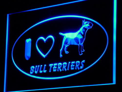 I Love Bull Terriers Dog Pet Shop Neon Light Sign