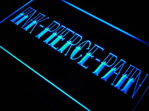 INK PIERCE PAIN TATTOO SLOGAN Neon Light Sign
