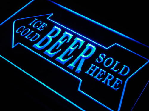 Ice Cold Beer Sold Here Bar Pub Neon Light Sign