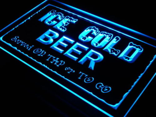 Ice Cold Beer on Tap Bar Neon Light Sign