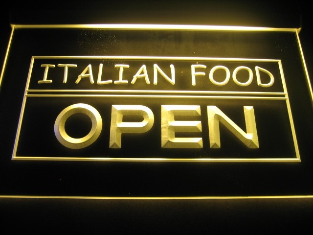 Italian Food Open Logo Beer Bar Pub Store Neon