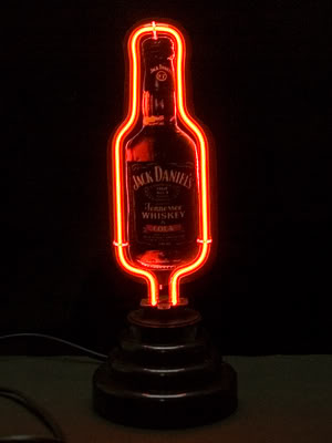 Jack Daniels Bottle Logo Red Neon Bar Mancave Sign