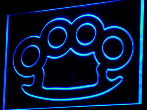 Knuckles Brass Weapons Bar Pub Neon Light Sign