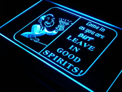 Leave in good spirits happy hour bar light sign leave in good leave in good spirits happy hour bar light sign mozeypictures Image collections